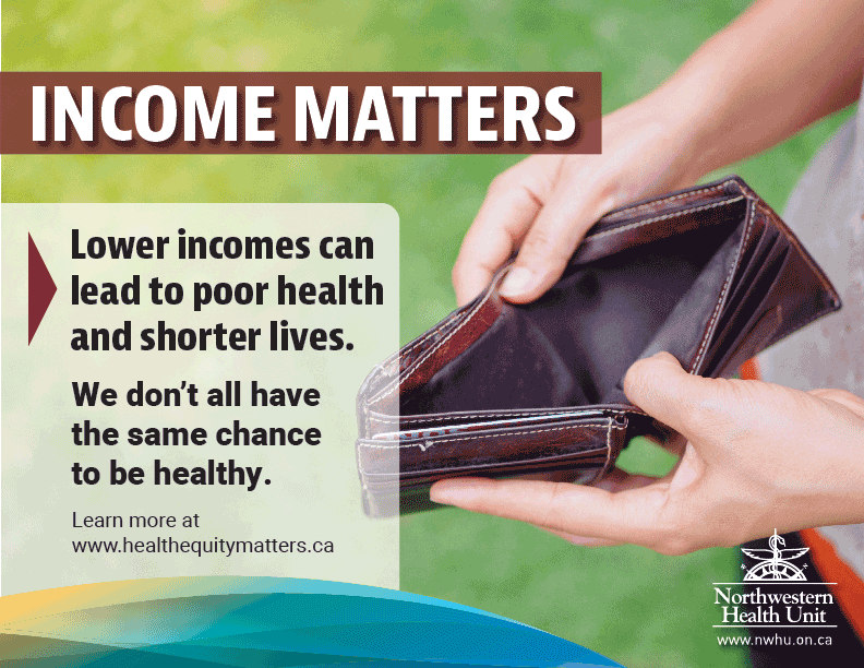 "This is a picture of a person holding open an empty wallet. The text says ""Income Matters; Lower income can lead to poor health and shorter lives""."