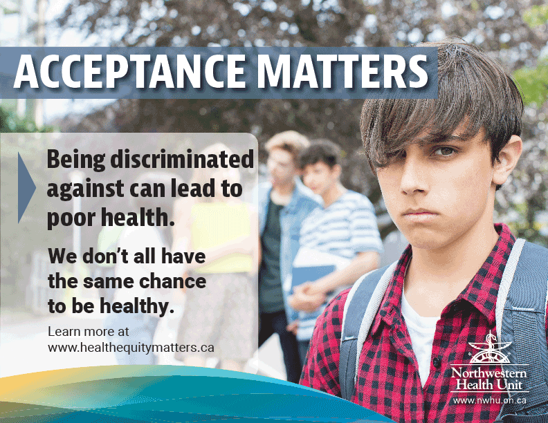 "This is an image of a young man who looks upset with a group of students behind him. The text reads ""Acceptance Matters; being discriminated against can lead to poor health"""