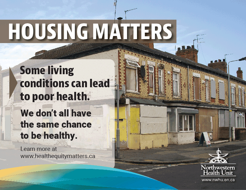 "This is an image of an older looking, two-story apartment. The text reads ""Housing Matters; some living onditions can lead to poor health""."